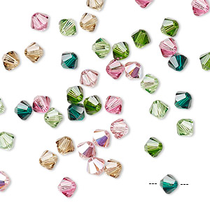 bead, swarovski crystals, crystal passions, tourmaline, 4mm xilion bicone (5328). sold per pkg of 144 (1 gross).