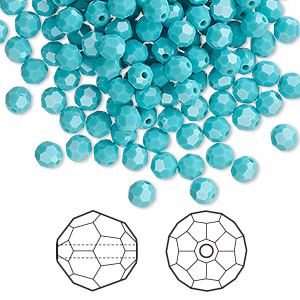 bead, swarovski crystals, crystal passions, turquoise, 4mm faceted round (5000). sold per pkg of 144 (1 gross).
