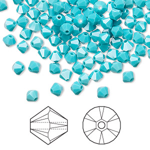 bead, swarovski crystals, crystal passions, turquoise, 4mm xilion bicone (5328). sold per pkg of 144 (1 gross).