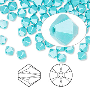 bead, swarovski crystals, crystal passions, turquoise, 5mm xilion bicone (5328). sold per pkg of 144 (1 gross).