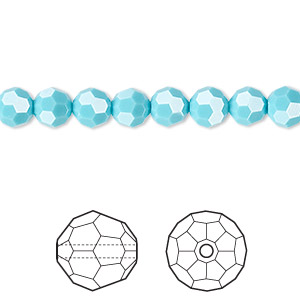 bead, swarovski crystals, crystal passions, turquoise, 6mm faceted round (5000). sold per pkg of 12.