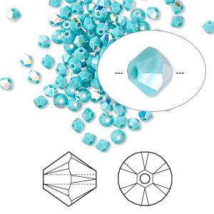 bead, swarovski crystals, crystal passions, turquoise ab, 3mm xilion bicone (5328). sold per pkg of 144 (1 gross).