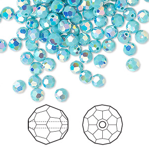 bead, swarovski crystals, crystal passions, turquoise ab2x, 4mm faceted round (5000). sold per pkg of 144 (1 gross).