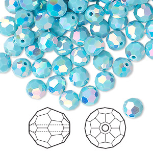 bead, swarovski crystals, crystal passions, turquoise ab2x, 6mm faceted round (5000). sold per pkg of 360.