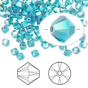bead, swarovski crystals, crystal passions, turquoise ab2x, 6mm xilion bicone (5328). sold per pkg of 144 (1 gross).