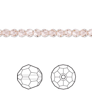 bead, swarovski crystals, crystal passions, vintage rose, 4mm faceted round (5000). sold per pkg of 12.
