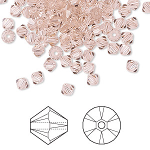bead, swarovski crystals, crystal passions, vintage rose, 4mm xilion bicone (5328). sold per pkg of 144 (1 gross).