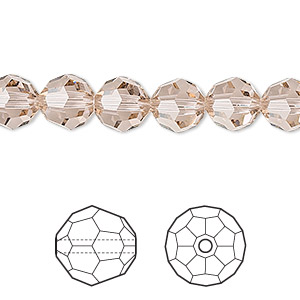 bead, swarovski crystals, crystal passions, vintage rose, 8mm faceted round (5000). sold per pkg of 12.