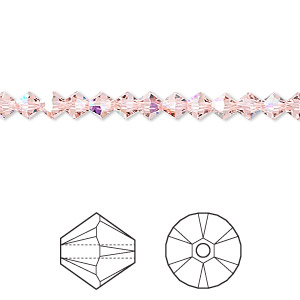 bead, swarovski crystals, crystal passions, vintage rose ab, 4mm xilion bicone (5328). sold per pkg of 48.