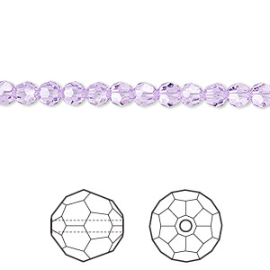 bead, swarovski crystals, crystal passions, violet, 4mm faceted round (5000). sold per pkg of 12.