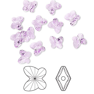bead, swarovski crystals, crystal passions, violet, 6x5mm faceted butterfly (5754). sold per pkg of 144 (1 gross).