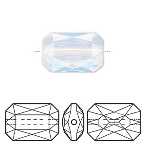 bead, swarovski crystals, crystal passions, white opal, 18x12.5mm faceted emerald cut (5515). sold individually.