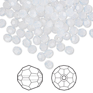bead, swarovski crystals, crystal passions, white opal, 4mm faceted round (5000). sold per pkg of 144 (1 gross).