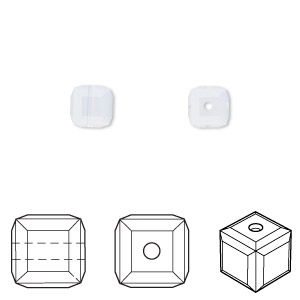 bead, swarovski crystals, crystal passions, white opal, 6x6mm faceted cube (5601). sold per pkg of 6.