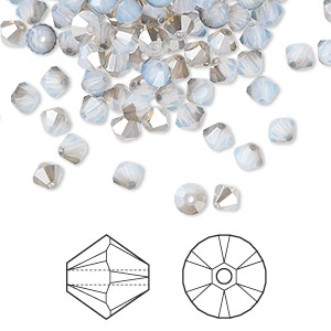 bead, swarovski crystals, crystal passions, white opal satin, 4mm xilion bicone (5328). sold per pkg of 48.