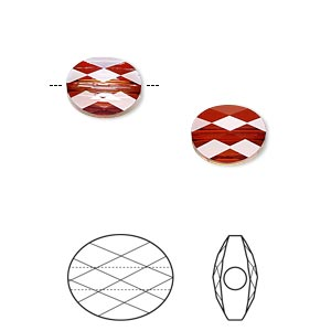 bead, swarovski crystals, crystal red magma, 10x8mm faceted mini oval (5051). sold per pkg of 144 (1 gross).