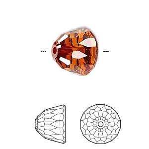 bead, swarovski crystals, crystal red magma, 14x11mm faceted dome small (5542). sold per pkg of 48.