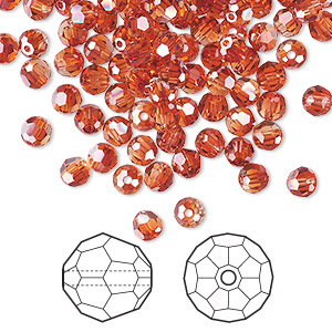 bead, swarovski crystals, crystal red magma, 4mm faceted round (5000). sold per pkg of 720 (5 gross).