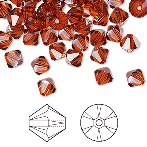 bead, swarovski crystals, crystal red magma, 6mm faceted bicone (5301). sold per pkg of 360 (2.5 gross).