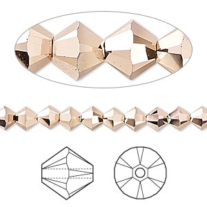 bead, swarovski crystals, crystal rose gold 2x, 5mm xilion bicone (5328). sold per pkg of 720 (5 gross).