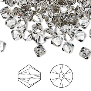 bead, swarovski crystals, crystal satin, 6mm xilion bicone (5328). sold per pkg of 360.