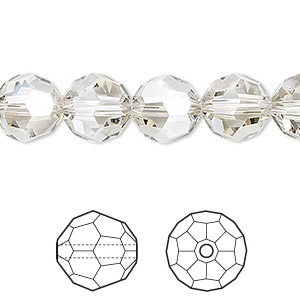 bead, swarovski crystals, crystal silver shade, 10mm faceted round (5000). sold per pkg of 144 (1 gross).