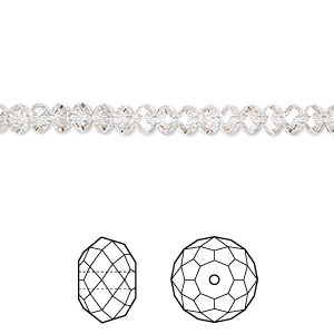 bead, swarovski crystals, crystal silver shade, 4x3mm faceted rondelle (5040). sold per pkg of 144 (1 gross).