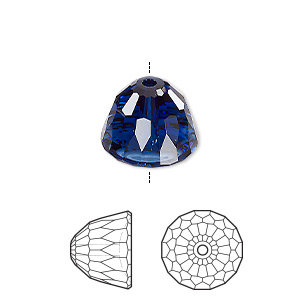 bead, swarovski crystals, dark indigo, 14x11mm faceted dome small (5542). sold per pkg of 48.