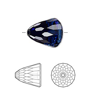 bead, swarovski crystals, dark indigo, 15x13.5mm faceted dome large (5541). sold per pkg of 48.