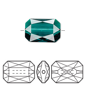 bead, swarovski crystals, emerald, 18x12.5mm faceted emerald cut (5515). sold per pkg of 24.
