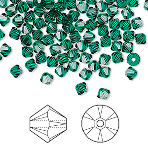 bead, swarovski crystals, emerald, 4mm xilion bicone (5328). sold per pkg of 1,440 (10 gross).