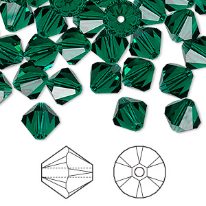 bead, swarovski crystals, emerald, 8mm xilion bicone (5328). sold per pkg of 288 (2 gross).
