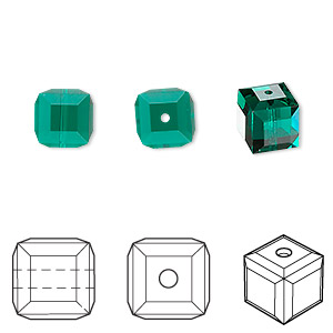 bead, swarovski crystals, emerald, 8x8mm faceted cube (5601). sold per pkg of 96.