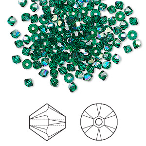 bead, swarovski crystals, emerald ab, 3mm xilion bicone (5328). sold per pkg of 144 (1 gross).