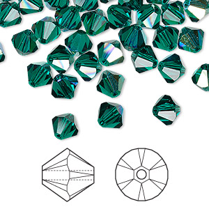 bead, swarovski crystals, emerald ab, 6mm xilion bicone (5328). sold per pkg of 360.