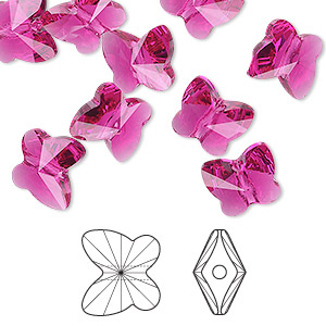 bead, swarovski crystals, fuchsia, 10x9mm faceted butterfly (5754). sold per pkg of 288 (2 gross).