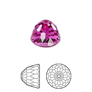 bead, swarovski crystals, fuchsia, 14x11mm faceted dome small (5542). sold per pkg of 48.