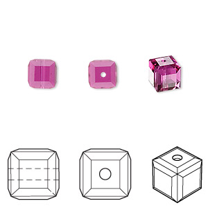 bead, swarovski crystals, fuchsia, 6x6mm faceted cube (5601). sold per pkg of 48.