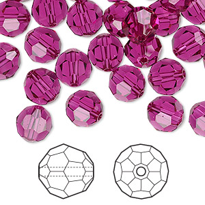 bead, swarovski crystals, fuchsia, 8mm faceted round (5000). sold per pkg of 288 (2 gross).
