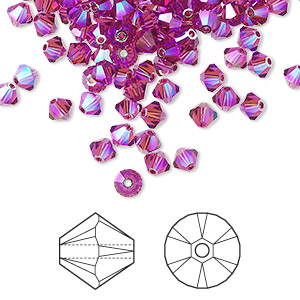 bead, swarovski crystals, fuchsia ab2x, 4mm xilion bicone (5328). sold per pkg of 144 (1 gross).