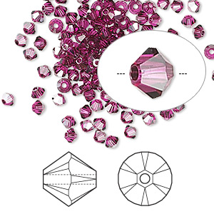 bead, swarovski crystals, fuchsia satin, 3mm xilion bicone (5328). sold per pkg of 48.