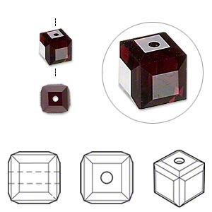 bead, swarovski crystals, garnet, 6x6mm faceted cube (5601). sold per pkg of 144 (1 gross).