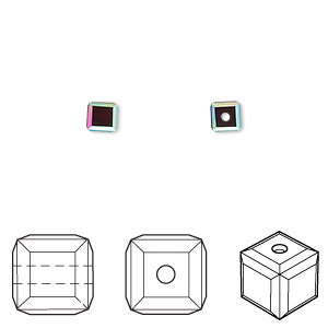 bead, swarovski crystals, garnet ab, 4x4mm faceted cube (5601). sold per pkg of 12.