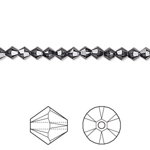 bead, swarovski crystals, graphite, 4mm xilion bicone (5328). sold per pkg of 1,440 (10 gross).