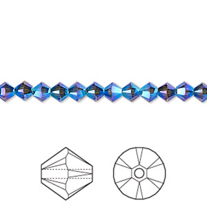 bead, swarovski crystals, graphite ab2x, 4mm xilion bicone (5328). sold per pkg of 1,440 (10 gross).