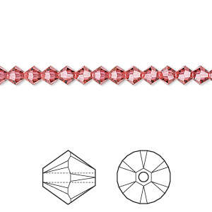 bead, swarovski crystals, indian pink, 4mm faceted bicone (5301). sold per pkg of 1,440 (10 gross).