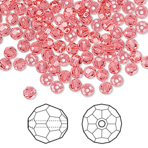 bead, swarovski crystals, indian pink, 4mm faceted round (5000). sold per pkg of 144 (1 gross).