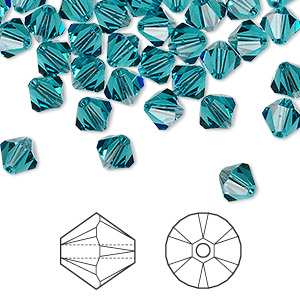 bead, swarovski crystals, indicolite, 6mm xilion bicone (5328). sold per pkg of 144 (1 gross).