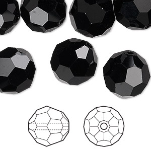 bead, swarovski crystals, jet, 14mm faceted round (5000). sold per pkg of 72.