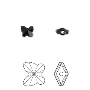 bead, swarovski crystals, jet, 6x5mm faceted butterfly (5754). sold per pkg of 360.